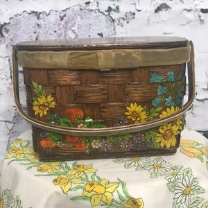 Vintage wooden basket purse